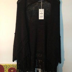 Zara Black Crochet Sweater with fringe